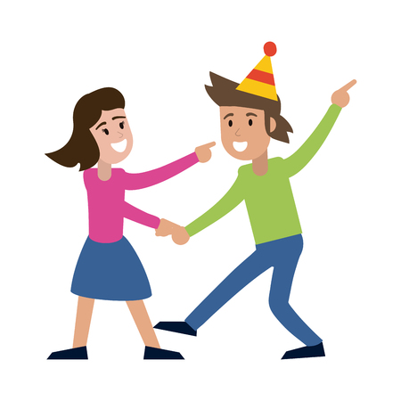 Couple dancing and smiling with birthday hats vector illustration graphic design