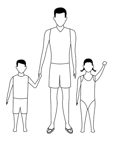 man and children avatar wearing summer clothes swimwear black and white vector illustration graphic design