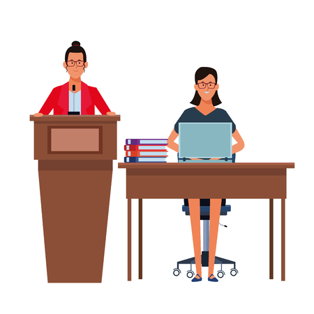 women in a podium and office desk wearing glasses vector illustration graphic design Ilustração