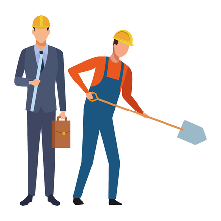 Construction teamwork avatar engineer with briefcase and worker with shovel vector illustration graphic design