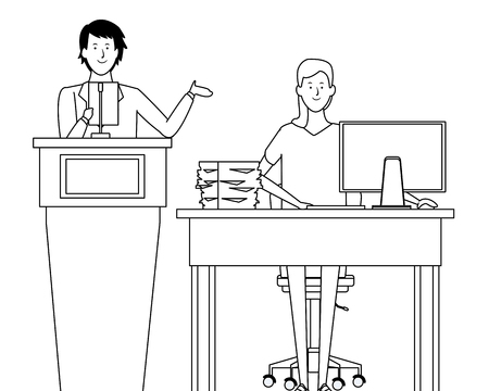 couple in a podium and office desk black and white vector illustration graphic design Ilustração