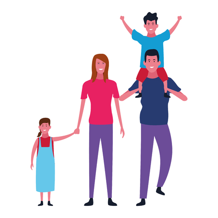 Family father and mother with boy and girl vector illustration graphic design