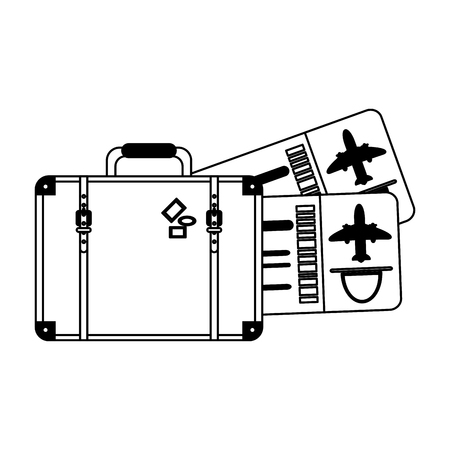 Vacations and travel suitcase and flight tickets vector illustration graphic design
