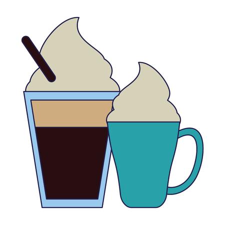 Coffee capuccino and latte mugs vector illustration graphic design Stock Illustratie