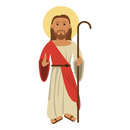 jesus christ with shepherd stick cartoon vector illustration graphic design