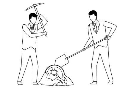 businessmen digging looking for cryptocurrency bitcoin with pickaxe and shovel black and white vector illustration graphic design Illustration