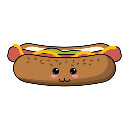 Hot dog fast food cute kawaii cartoon vector illustration graphic design