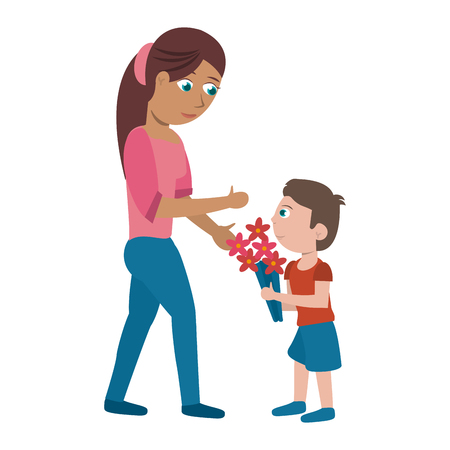 Single mother with kid boy with flowers cartoon vector illustration graphic design Vectores