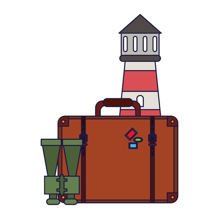 Vacations and travel lighthouse with suitcase and binoculars vector illustration graphic design vector illustration graphic design
