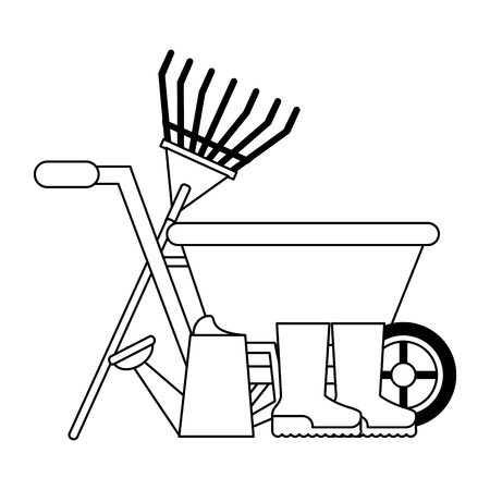 Gardening plants and tools wheelbarrow with water can and boots Designe Banque d'images - 123253868