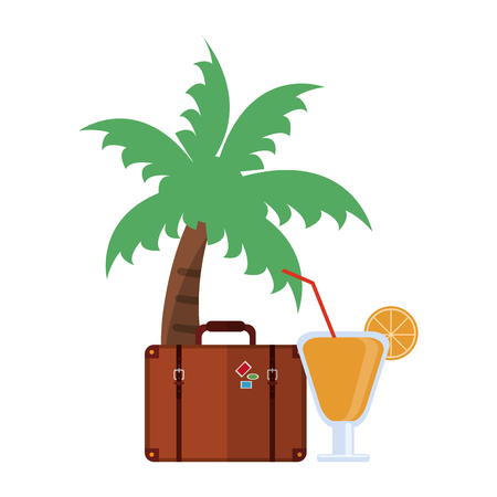 Vacations and travel palm with suitcase and cocktail vector illustration graphic design Ilustração