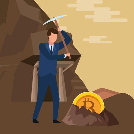 businessman and cryptocurrency embedded in the ground bitcoin and pickaxe in the mine vector illustration graphic design