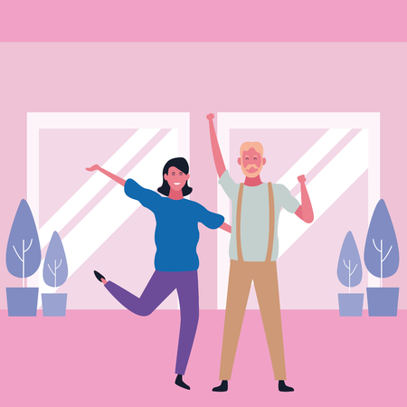 Father and adult daughter dancing and smiling in mall interiror scenery vector illustration graphic design