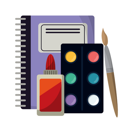 School utensils and supplies notebook and paint brush with palette and glue bottle