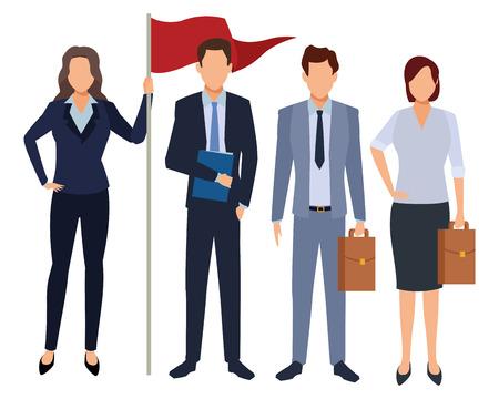 Executive Business Mitarbeiter mit Erfolg Flagge Cartoon-Vektor-Illustration-Grafik-Design