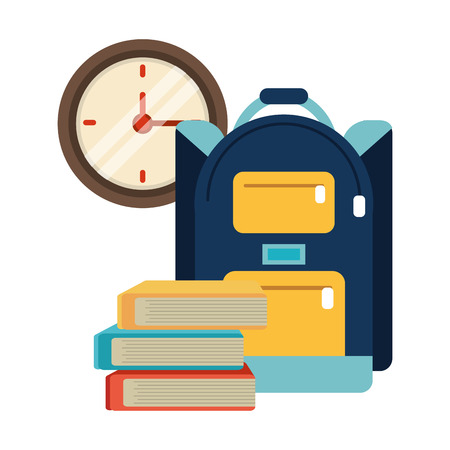School utensils and supplies backpack and books with clock