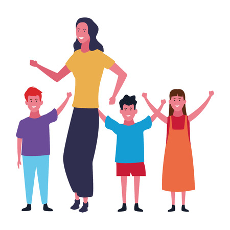 Family single mother playing with kids vector illustration graphic design
