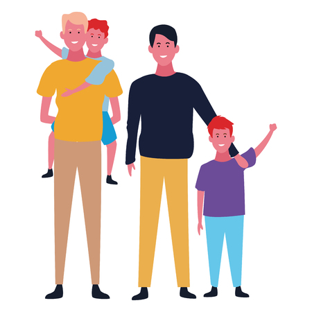 Family fathers with sons vector illustration graphic design