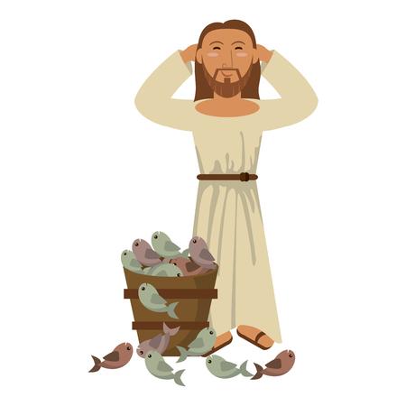 jesuschrist man with fishes in bucket cartoon vector illustration graphic design Illustration