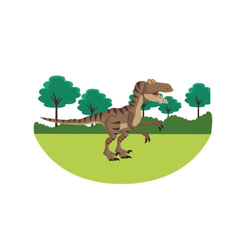 tyrannosaur dinosaur cartoon round icon vector illustration graphic design Vectores