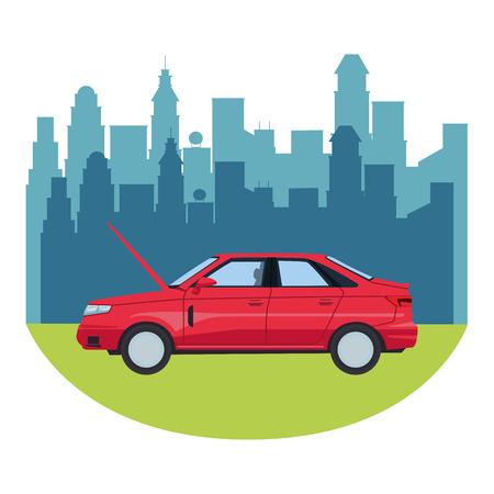 transportation concept car in front city landscape cartoon vector illustration graphic design Иллюстрация