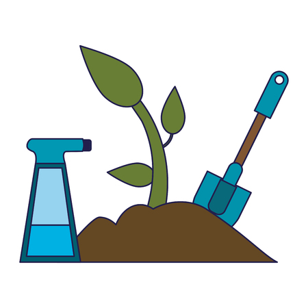 Gardening tools water can plant and shovel vector illustration graphic design Banque d'images - 123254281