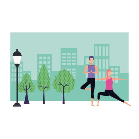 couple yoga poses avatars cartoon character in the park cityscape vector illustration graphic design