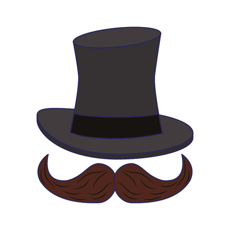 Magician hat and mustache cartoon isolated vector illustration graphic design