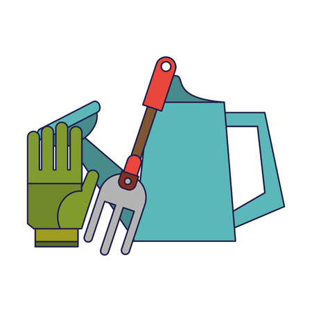 Gardening tools glove water can and rake vector illustration graphic design Banque d'images - 123254310
