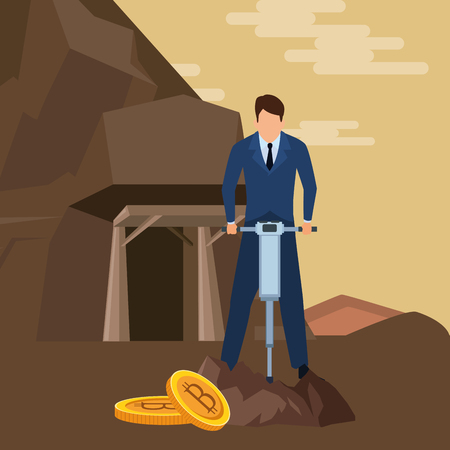 businessman and cryptocurrency embedded in the ground bitcoin and drill in the mine vector illustration graphic design Ilustrace