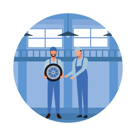 car service workers with wheel cartoon vector illustration graphic design