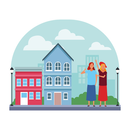 women avatar cartoon character thumb up wearing skirt hat  in the neighborhood scenery vector illustration  design Vectores