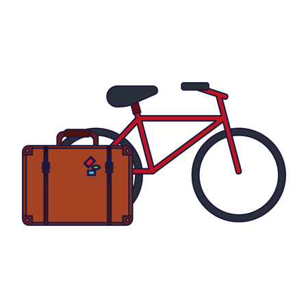 Vacations and travel suitcase and bike vector illustration graphic design vector illustration graphic design Illustration