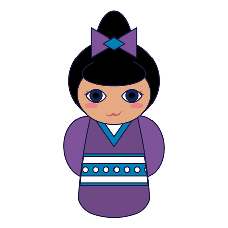 Cute japanese girl with kimono cartoon vector illustration graphic design Çizim