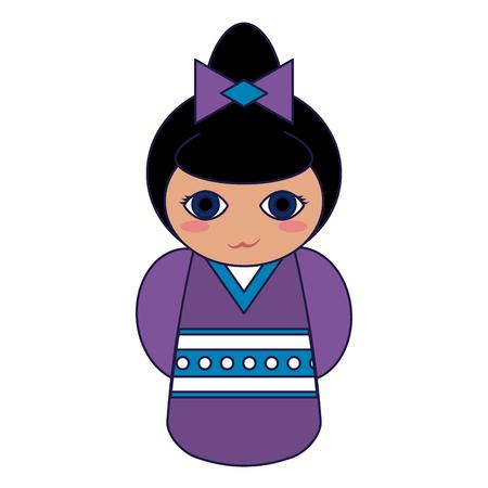Cute japanese girl with kimono cartoon vector illustration graphic design Ilustração