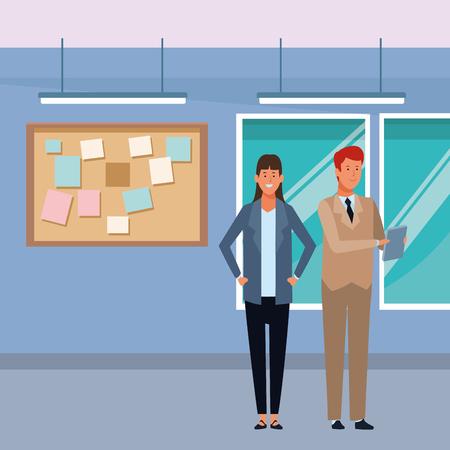 business couple avatar cartoon character with documents folder in the office vector illustration graphic design Illusztráció