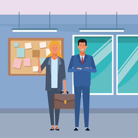 business couple avatar cartoon character with briefcase in the office vector illustration graphic design
