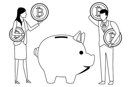 business couple holding cryptocurrency bitcoin with piggy black and white vector illustration graphic design 向量圖像
