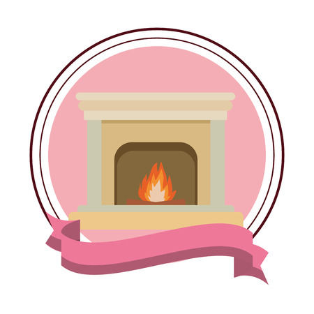 classic fireplace icon isolated round icon and ribbon vector illustration graphic design Ilustracja