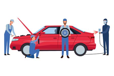 car service manufacturing workers assembling cartoon vector illustration graphic design Иллюстрация