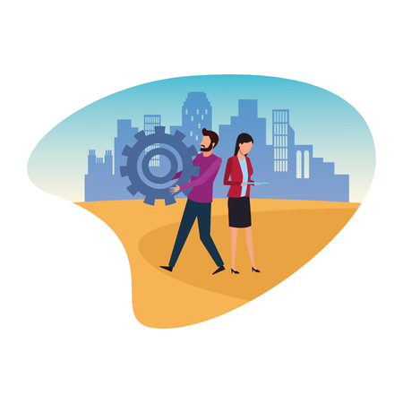Coworkers man with big gear and businesswoman using tablet teamwork cartoon over cityscape scenery vector illustration graphic design