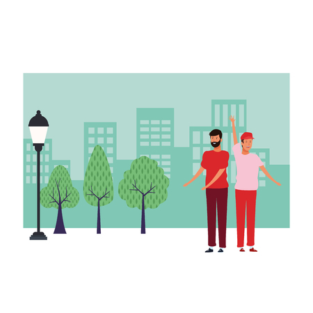 men avatar cartoon character hand up with beard wearing hat  over cityscape scenery vector illustration graphic design 일러스트