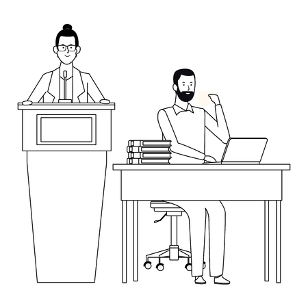 couple in a podium and office desk wearing glasses and beard black and white vector illustration graphic design 向量圖像