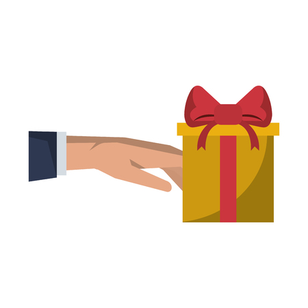 Gift giving delivery business market hand present vector illustration graphic desing