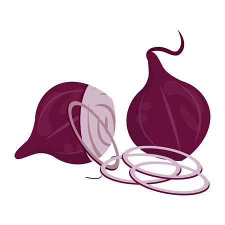 Onions slices cuts cartoon vector illustration graphic design