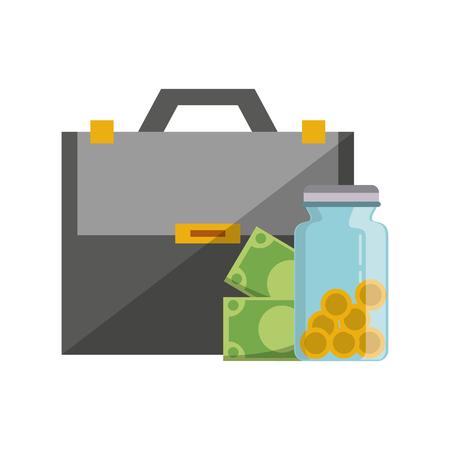 Invesment market business portafolio briefcase money jar with coins and bills vector illustration graphic desing 向量圖像