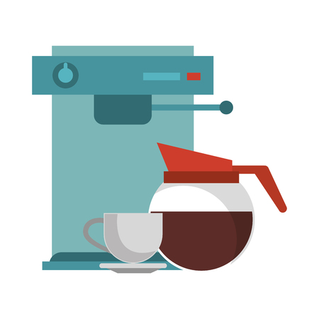 Espresso machine with coffee pot hot beverage and cup on plate vector illustration graphic desing 向量圖像