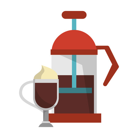 Manual coffee maker coffeeshop equipment sweet drink with whipped cream vector illustration graphic desing