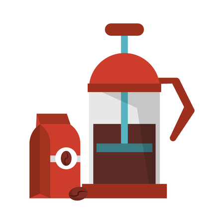 Manual coffee maker coffeeshop equipment with bag hot or warm drink vector illustration graphic desing