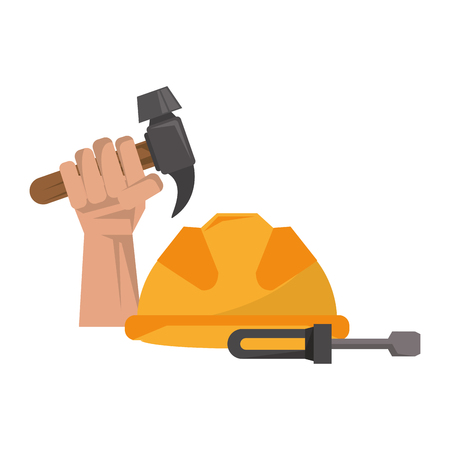 Hand holding tool hammer and helmet with screwdriver construction work security warning vector illustration graphic desing